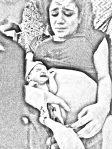 De vader van de op 5 december thuisgeboren Nova knipt de navelstreng door. Moeder kijkt bezorgd.