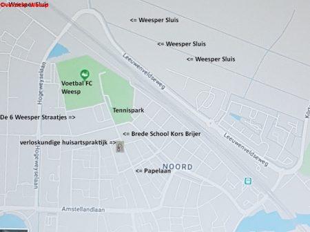 Plattegrond Weesp, nabijheid Weesper Sluis en verloskundige huisartspraktijk Burggraaff Weesp